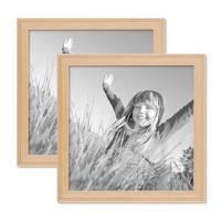 2er Set Landhaus-Bilderrahmen 20x20 cm Holz Natur Massivholz mit Glasscheibe und Zubehör / Fotorahmen  – Bild 1