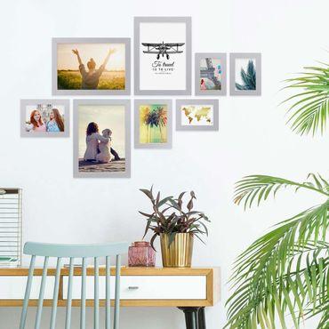 8er Bilderrahmen-Collage Basic Collection, Modern, Silber, aus MDF, inklusive Zubehör / Foto-Collage / Bildergalerie / Bilderrahmen-Set