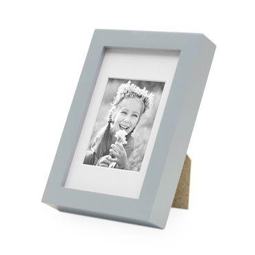 Bilderrahmen Modern Tief Grau Massivholz 10x15 cm mit Passepartout 7x9 cm/ Fotorahmen / Portraitrahmen / Wechselrahmen
