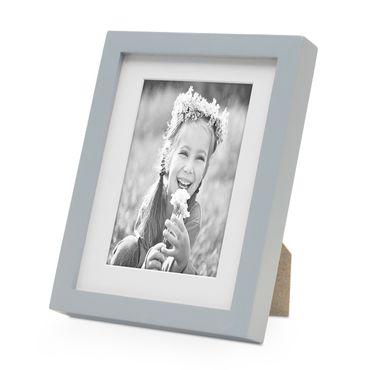 Bilderrahmen Modern Tief Grau Massivholz 15x20 cm mit Passepartout 10x15 cm/ Fotorahmen / Portraitrahmen / Wechselrahmen