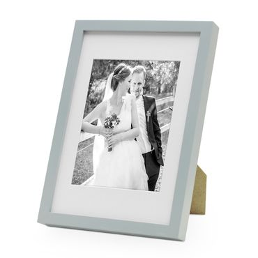 Bilderrahmen Modern Tief Grau Massivholz 21x30 cm DIN A4 mit Passepartout 15x20 cm/ Fotorahmen / Portraitrahmen / Wechselrahmen