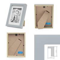 2er Bilderrahmen-Set Modern Tief Massivholz Grau 10x15 cm mit Passepartout 7x9 cm/ Fotorahmen / Portraitrahmen / Wechselrahmen – Bild 2