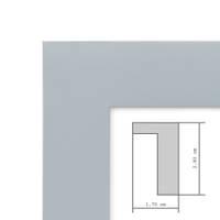 2er Bilderrahmen-Set Modern Tief Massivholz Grau 10x15 cm mit Passepartout 7x9 cm/ Fotorahmen / Portraitrahmen / Wechselrahmen – Bild 5