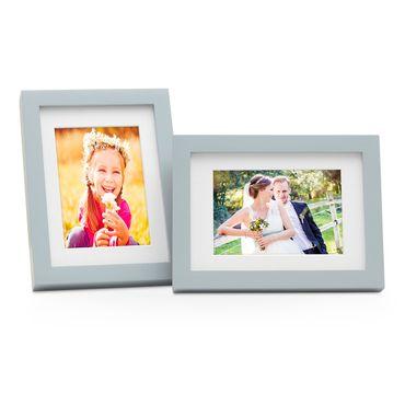 2er Bilderrahmen-Set Modern Tief Massivholz Grau 15x20 cm mit Passepartout 10x15 cm/ Fotorahmen / Portraitrahmen / Wechselrahmen