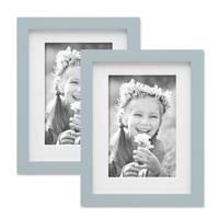 2er Bilderrahmen-Set Modern Tief Massivholz Grau 15x20 cm mit Passepartout 10x15 cm/ Fotorahmen / Portraitrahmen / Wechselrahmen – Bild 7