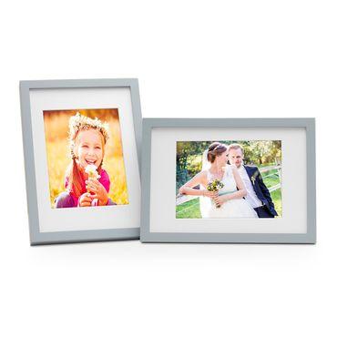 2er Bilderrahmen-Set Modern Tief Massivholz Grau 21x30 cm / DIN A4 mit Passepartout 15x20 cm/ Fotorahmen / Portraitrahmen / Wechselrahmen