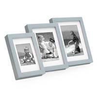 3er Bilderrahmen-Set Modern Tief Grau Massivholz mit Passepartout / 10x15 cm, 13x18 cm, 15x20 cm / Fotorahmen / Portraitrahmen / Wechselrahmen – Bild 5