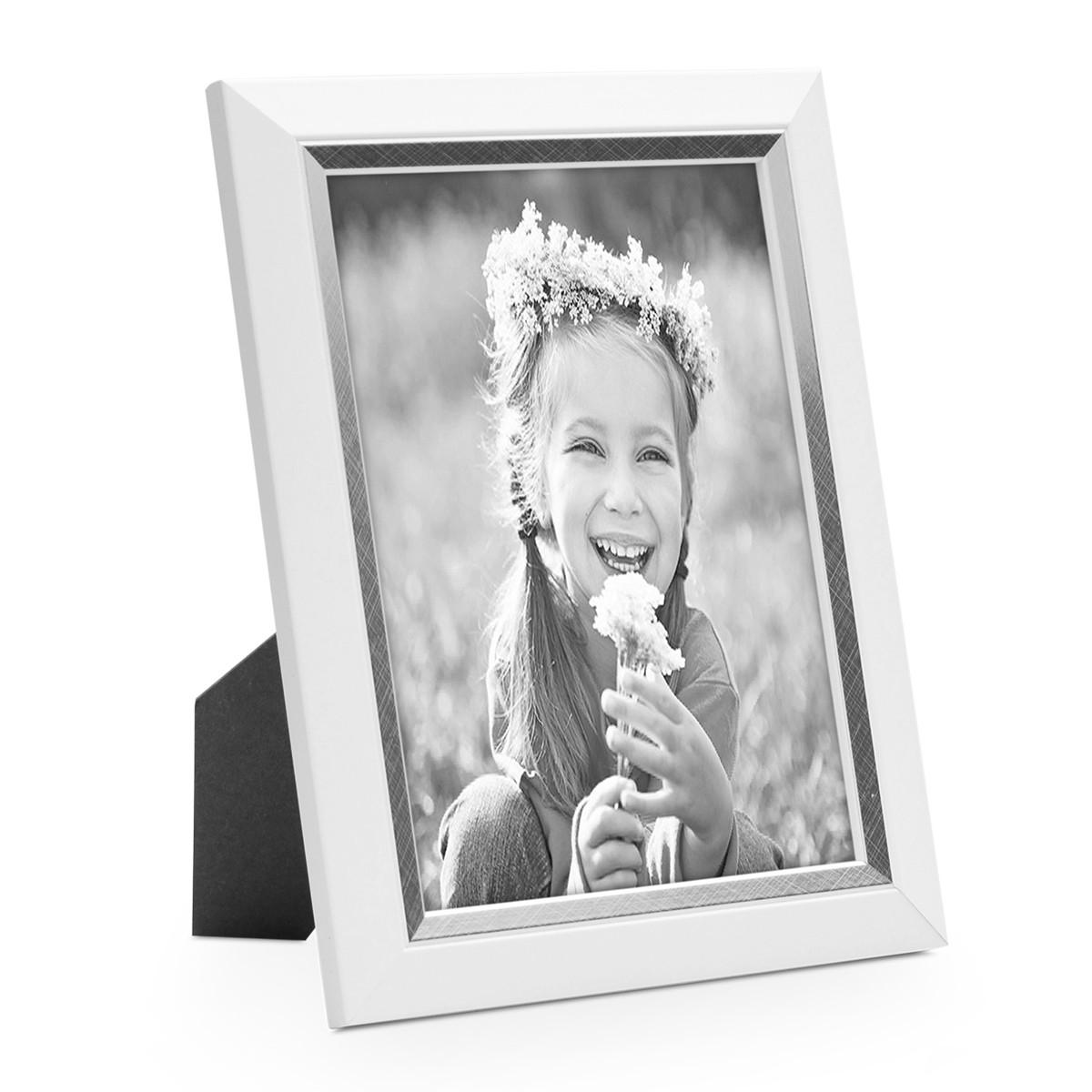 Bilderrahmen 18x24 cm Weiss Modern mit Silberkante Massivholz-Rahmen ...