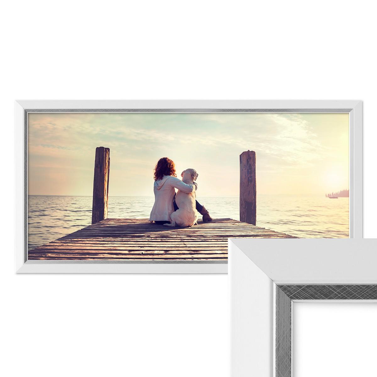 Panorama-Bilderrahmen 30x60 cm Weiss Modern mit Silberkante ...