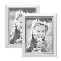 2er Bilderrahmen-Set 18x24 cm Weiss Modern mit Silberkante Massivholz-Rahmen mit Glasscheibe und Zubehör / Fotorahmen  – Bild 1