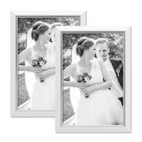 2er Bilderrahmen-Set 20x30 cm Weiss Modern mit Silberkante Massivholz-Rahmen mit Glasscheibe und Zubehör / Fotorahmen