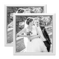 2er Bilderrahmen-Set 30x30 cm Weiss Modern mit Silberkante Massivholz-Rahmen mit Glasscheibe und Zubehör / Fotorahmen  – Bild 4