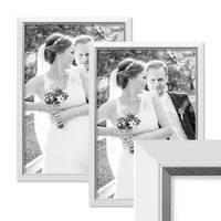 2er Bilderrahmen-Set 30x40 cm Weiss Modern mit Silberkante Massivholz-Rahmen mit Glasscheibe und Zubehör / Fotorahmen