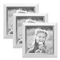 3er Bilderrahmen-Set 10x10 cm Weiss Modern mit Silberkante Massivholz-Rahmen mit Glasscheibe und Zubehör / Fotorahmen  – Bild 1