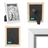 3er Bilderrahmen-Set 18x24 cm Weiss Modern mit Silberkante Massivholz-Rahmen mit Glasscheibe und Zubehör / Fotorahmen  – Bild 3