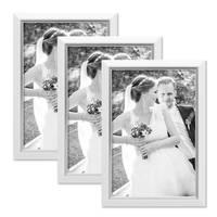 3er Bilderrahmen-Set 20x30 cm Weiss Modern mit Silberkante Massivholz-Rahmen mit Glasscheibe und Zubehör / Fotorahmen