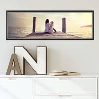 Panorama-Bilderrahmen 30x90 cm Schwarz Modern mit Silberkante Massivholz-Rahmen mit Acrylglasscheibe und Zubehör / Fotorahmen  – Bild 2