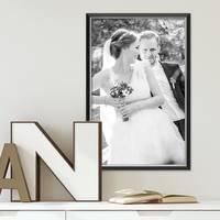 Bilderrahmen 40x50 cm Schwarz Modern mit Silberkante Massivholz-Rahmen mit Glasscheibe und Zubehör / Fotorahmen  – Bild 2