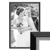 Bilderrahmen 40x60 cm Schwarz Modern mit Silberkante Massivholz-Rahmen