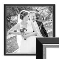 Bilderrahmen 60x60 cm Schwarz Modern mit Silberkante Massivholz-Rahmen mit Acrylglasscheibe