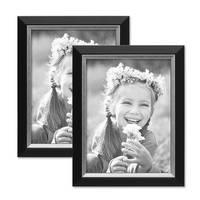 2er Bilderrahmen-Set 15x20 cm Schwarz Modern mit Silberkante Massivholz-Rahmen mit Glasscheibe und Zubehör / Fotorahmen  – Bild 1