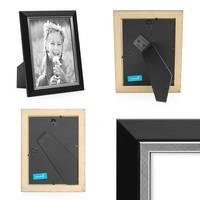 2er Bilderrahmen-Set 15x20 cm Schwarz Modern mit Silberkante Massivholz-Rahmen mit Glasscheibe und Zubehör / Fotorahmen  – Bild 3