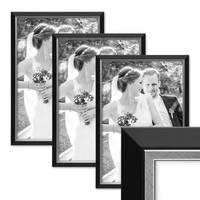 3er Bilderrahmen-Set 30x42 cm / DIN A3 Schwarz Modern mit Silberkante Massivholz-Rahmen