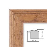 Landhaus-Bilderrahmen 20x30 cm Eiche-Optik Massivholz mit Glasscheibe und Zubehör / Fotorahmen  – Bild 2