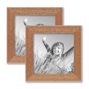 2er Set Landhaus-Bilderrahmen 10x10 cm Eiche-Optik Massivholz mit Glasscheibe und Zubehör / zum Stellen oder Hängen / Fotorahmen