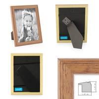 2er Set Landhaus-Bilderrahmen 13x18 cm Eiche-Optik Massivholz mit Glasscheibe und Zubehör / zum Stellen oder Hängen / Fotorahmen  – Bild 2