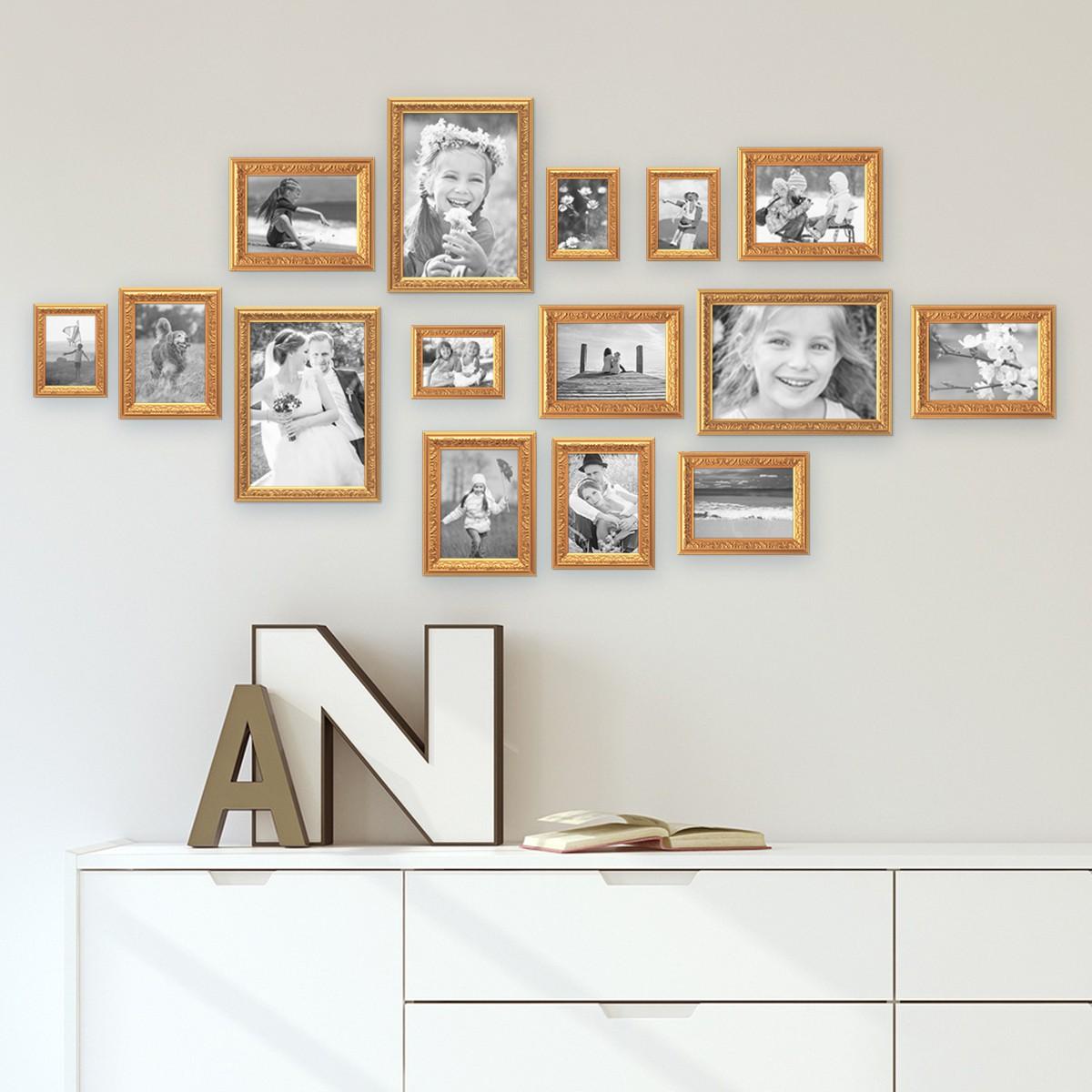 15er Bilderrahmen-Set Antik Gold Nostalgie 10x15 bis 21x30 cm ...