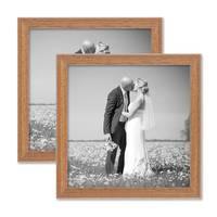 2er Set Landhaus-Bilderrahmen 20x20 cm Eiche-Optik Massivholz mit Glasscheibe und Zubehör / Fotorahmen  – Bild 1