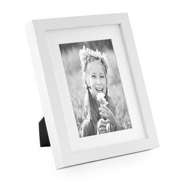 B-Ware: Bilderrahmen Modern Tief Massivholz Weiss 15x20 cm mit Passepartout 10x15 cm