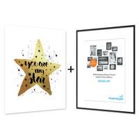 Design-Poster mit Bilderrahmen Schwarz 'My Star' 40x50 cm mit Goldaufdruck Typographie Spruch – Bild 4