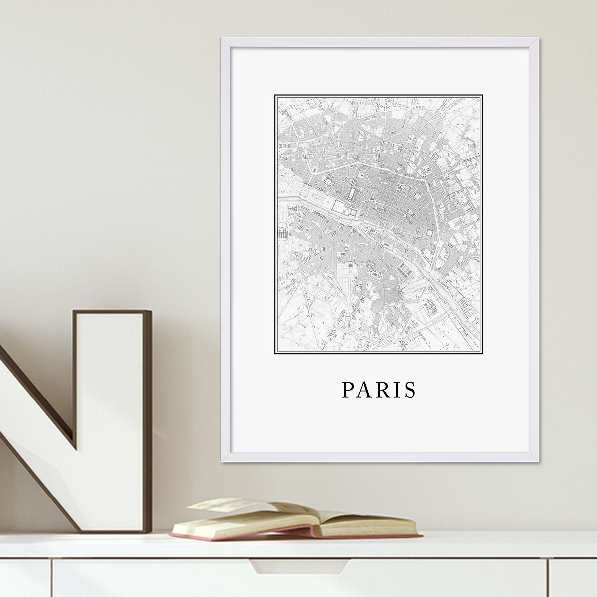 poster mit bilderrahmen weiss 39 paris karte 39 30x40 cm schwarz weiss motiv natur landschaft map. Black Bedroom Furniture Sets. Home Design Ideas
