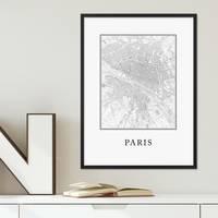 Poster mit Bilderrahmen Schwarz Paris Karte 30x40 cm schwarz-weiss Motiv Natur Landschaft Map