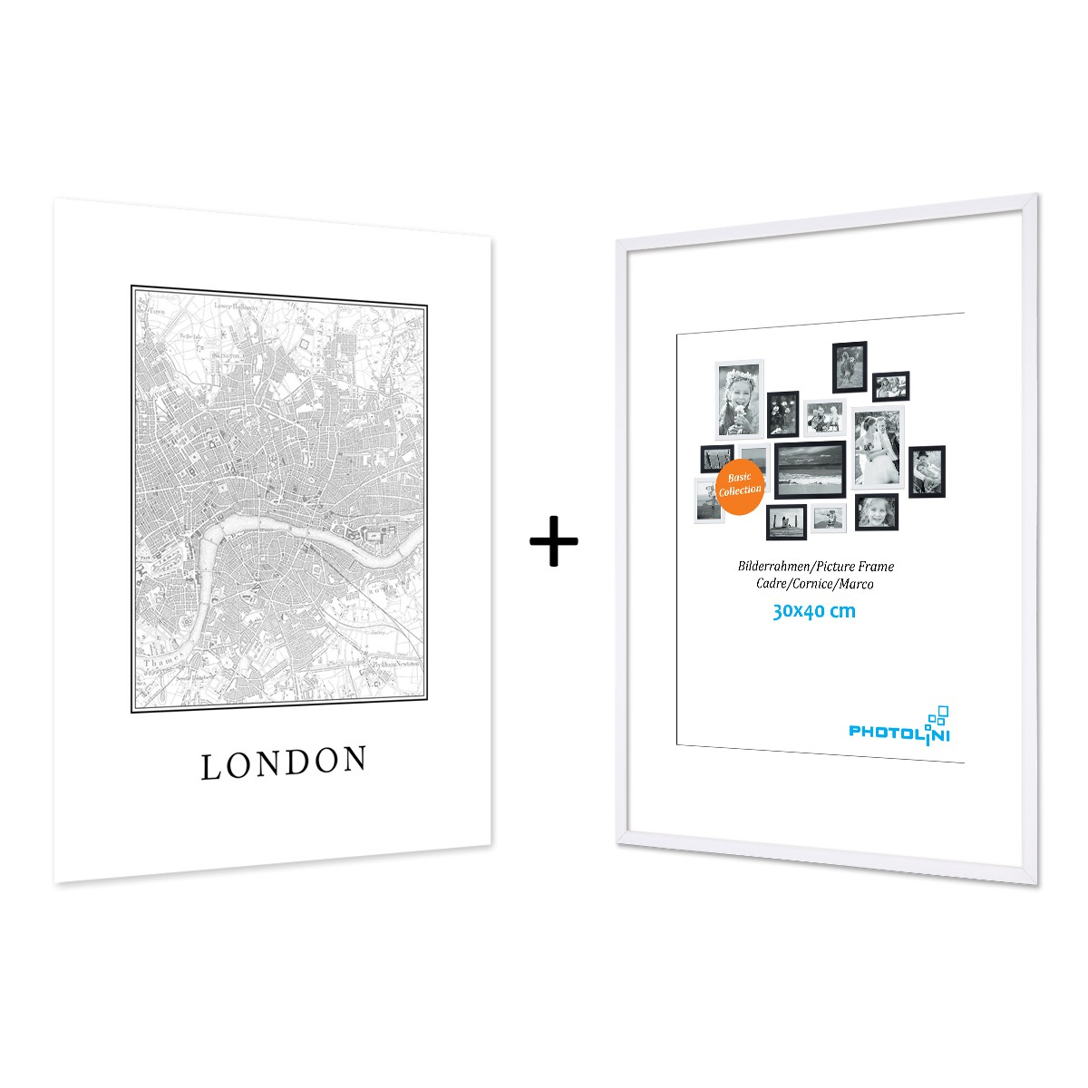 Poster mit Bilderrahmen Weiss \'London Karte\' 30x40 cm schwarz-weiss ...