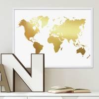 Poster 'Weltkarte Gold' 30x40 cm Motiv mit Goldaufdruck Map Design Erde Natur – Bild 4