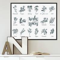 Poster mit Bilderrahmen Schwarz 'Herbs and Spices' 40x50 cm Kräuter Gewürze Küchenbild – Bild 2