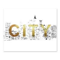Design-Poster 'City Gold' 40x50 cm mit Goldaufdruck Typographie Stadt Motiv – Bild 3