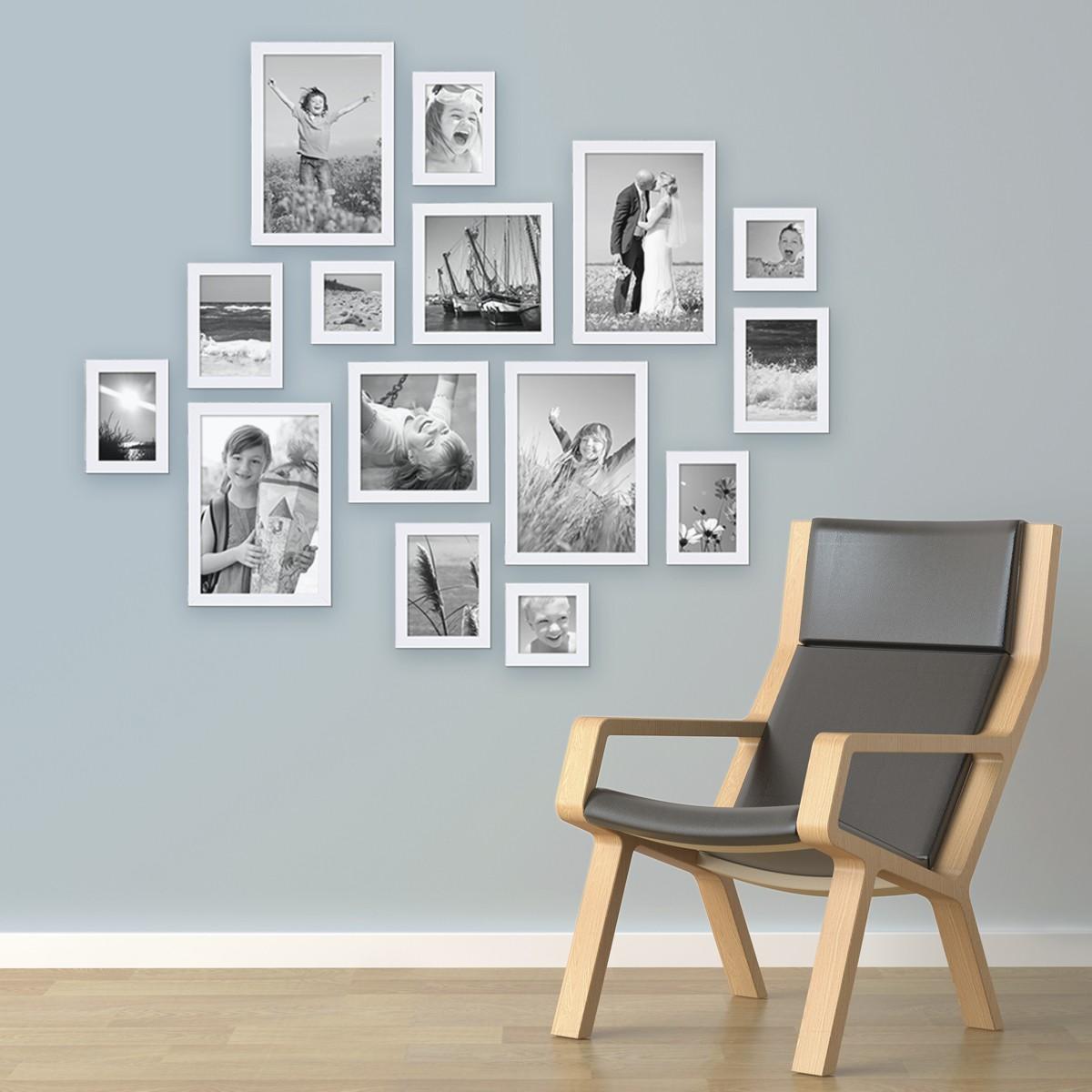 15er set bilderrahmen modern weiss aus mdf 10x15 bis. Black Bedroom Furniture Sets. Home Design Ideas