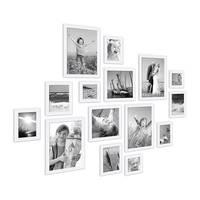 15er Set Bilderrahmen Modern Weiss aus MDF 10x15 bis 20x30 cm inklusive Zubehör zur Gestaltung einer Collage / Bildergalerie