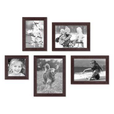 5er Set Landhaus-Bilderrahmen Nuss Modern 10x10, 10x15, 13x18 und 15x20 cm Massivholz inkl. Zubehör