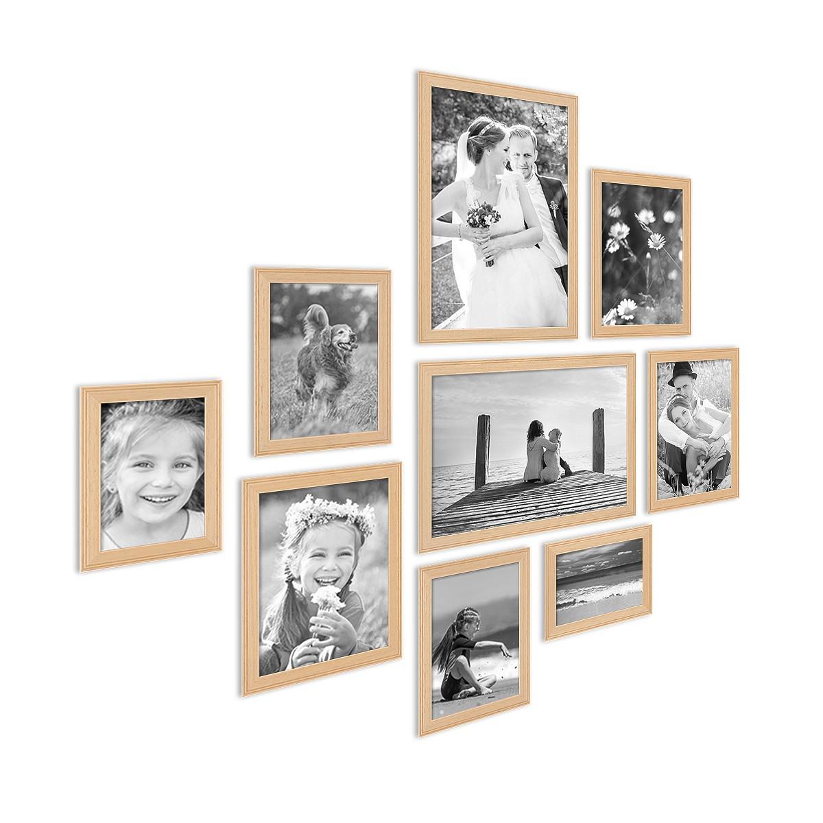 9er set landhaus bilderrahmen holz natur massivholz rahmen mit glasscheibe und zubeh r 10x15. Black Bedroom Furniture Sets. Home Design Ideas