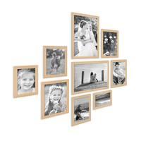 9er Set Landhaus-Bilderrahmen Holz Natur Massivholz-Rahmen mit Glasscheibe und Zubehör  / 10x15, 13x18, 15x20 und 20x30 cm / Fotorahmen