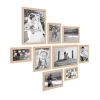 9er Set Landhaus-Bilderrahmen Holz Natur Massivholz-Rahmen mit Glasscheibe und Zubehör  / 10x15, 13x18, 15x20 und 20x30 cm / Fotorahmen – Bild 3