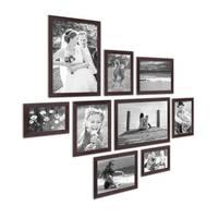 9er Set Landhaus-Bilderrahmen Nuss Modern Massivholz-Rahmen mit Glasscheibe und Zubehör  / 10x15, 13x18, 15x20 und 20x30 cm / Fotorahmen – Bild 3