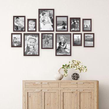 12er Set Landhaus-Bilderrahmen Nuss Modern 10x15 13x18 15x20 und 20x30 cm Massivholz inkl. Zubehör