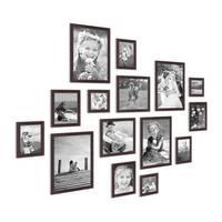 15er Set Landhaus-Bilderrahmen Nuss Modern Massivholz Größen 10x10 10x15 13x18 20x20 20x30 cm inkl. Zubehör – Bild 3