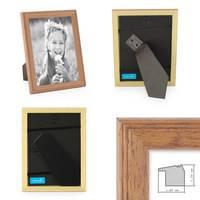2er Set Landhaus-Bilderrahmen 15x15 cm Eiche-Optik Massivholz mit Glasscheibe und Zubehör / zum Stellen oder Hängen / Fotorahmen  – Bild 2